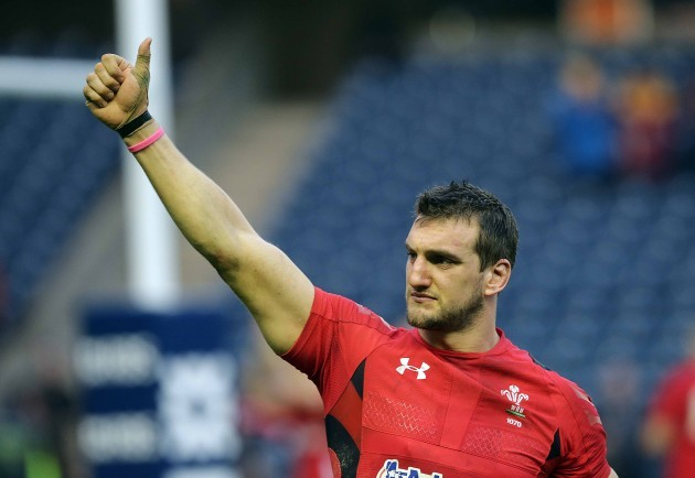 Sam Warburton celebrates at the end of the game