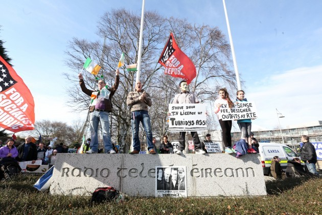 water protest - RTE . Pictured Water p