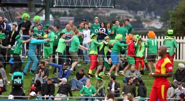 Ireland fans celebrate winning