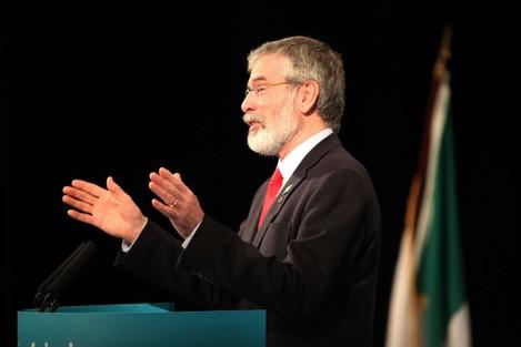 : Sinn Fein President Gerry Adams delive
