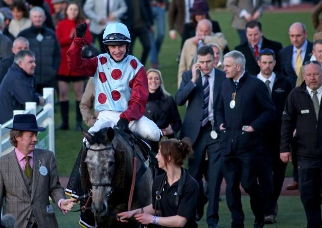 Paul Townend celebrate winning on Irish Cavalier