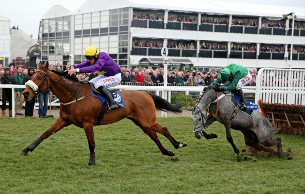 Windsor Park ridden by Davy Russell jumps the last