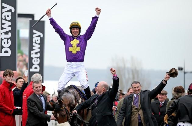 Davy Russell celebrates winning on Windsor Park