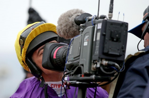 Davy Russell kisses a TV camera