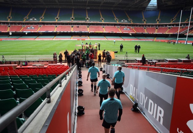 The Ireland players make their way out onto the Millennium Stadium pitch