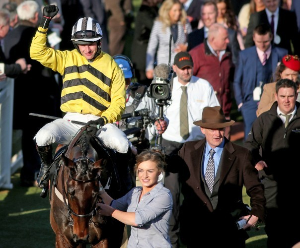 Paul Townend celebrates on Glens Melody with winning trainer Willie Mullins