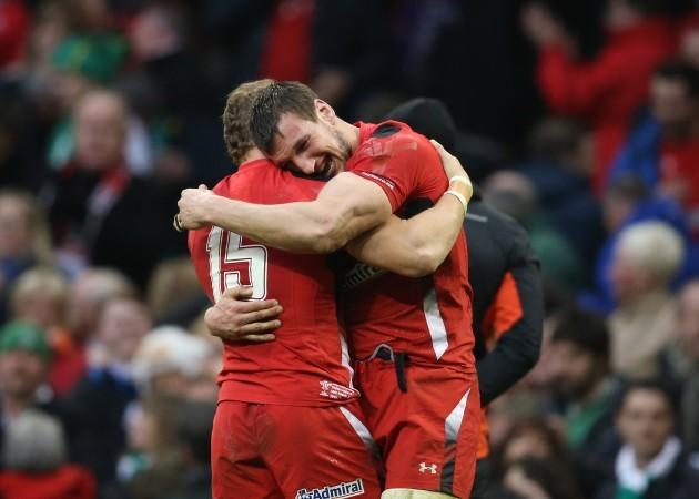 Sam Warburton and Leigh Halfpenny celebrate winning