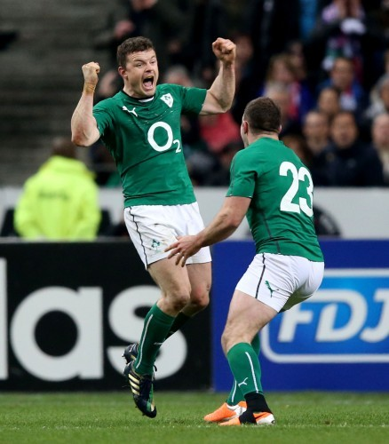 Brian O'Driscoll celebrates with Fergus McFadden at the final whistle