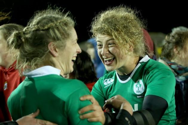 Alison Miller and Jenny Murphy celebrate
