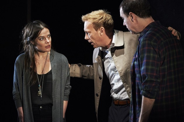 (L-R) Katie McGuinness, Shaun Dingwall and Brian Doherty in Owen McCafferty's new play Death of a Comedian on Abbey Theatre's Peacock stage Pic Ros Kavanagh