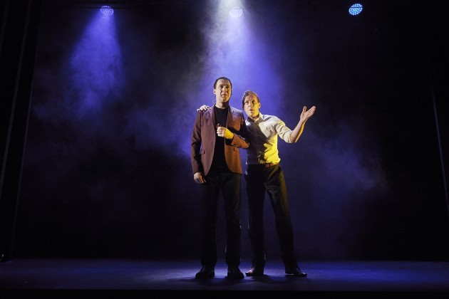 Brian Doherty (Comedian) and Shaun Dingwall (Agent) in Death of a Comedian by Owen McCafferty Pic Ros Kavanagh