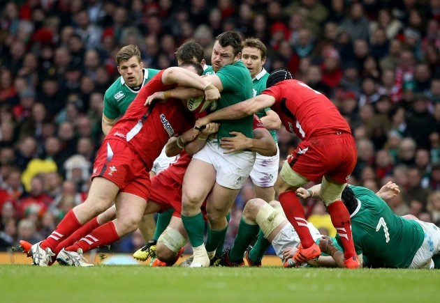Cian Healy tackled by Aaron Jarvis