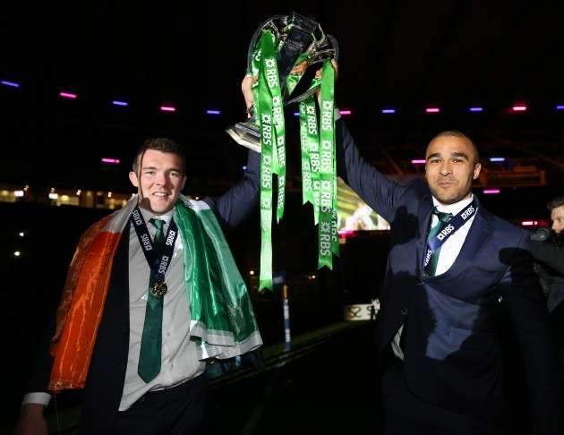 Peter O'Mahony and Conor Murray celebrate with the trophy