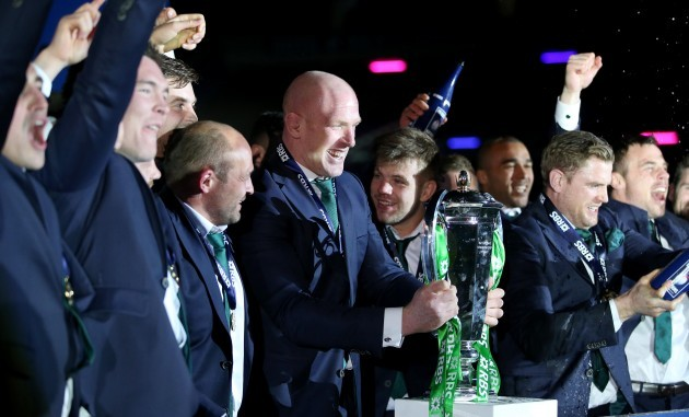 Paul O'Connell lifts the RBS 6 Nations Championship trophy as the Irish players celebrate