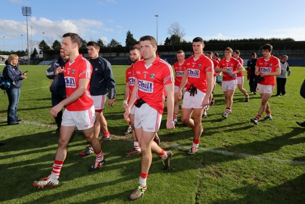 Cork players return to the dressing rooms