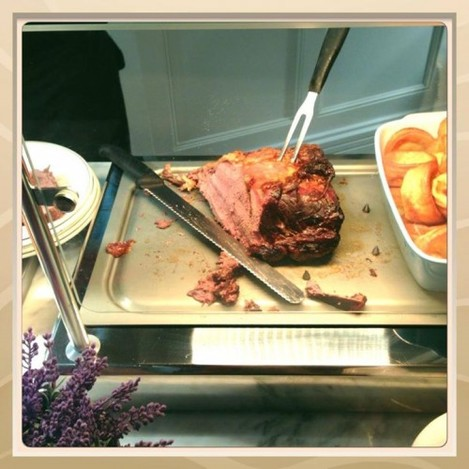Roast Irish Sirloin of Beef being served as we ...