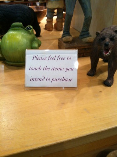 passive aggressive sign at an arts & crafts shop