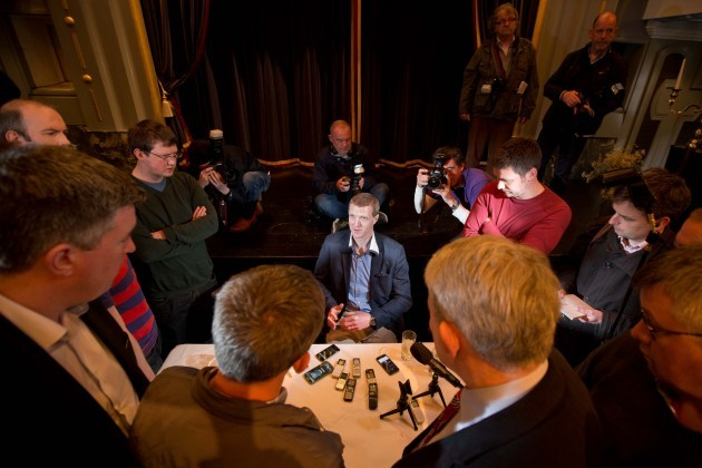 Henry Shefflin speaking to members of the media