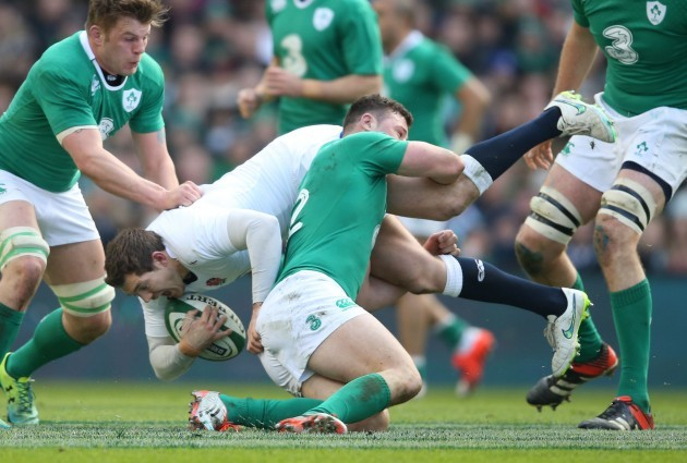 EnglandÕs Alex Goode is tackled by IrelandÕs Robbie Henshaw 1/3/2015