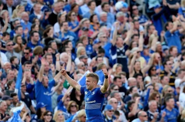 Ian Madigan celebrates at the final whistle