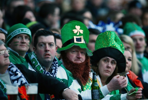 Ireland supporters watch the England France match