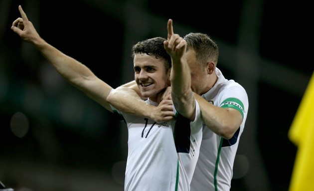 Robbie Brady celebrates scoring his sides second goal with David Meyler