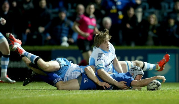 Isaac Boss scores his side's second try despite Connor Braid and Jonny Gray