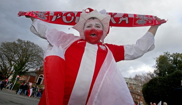 A Poland supporter before the game
