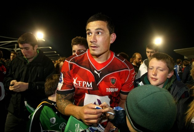 Sonny Williams is mobbed by fans after the game