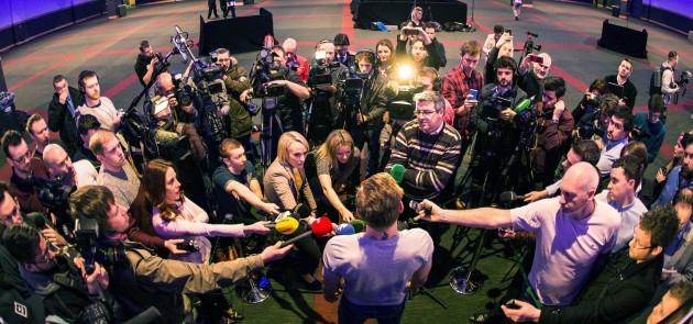 Conor McGregor speaking to the media