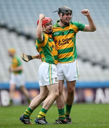 Darragh Wafer and Jason Cleere celebrate at the final whistle