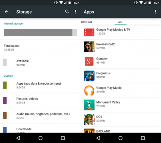 Android Storage space