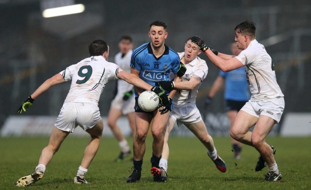Cormac Costello under pressure from the Kildare defence