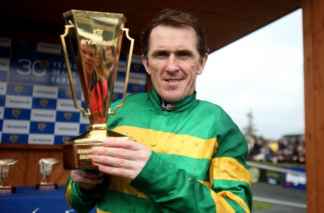 Tony McCoy with the Ryanair Gold Cup after winning onboard Gilgamboa