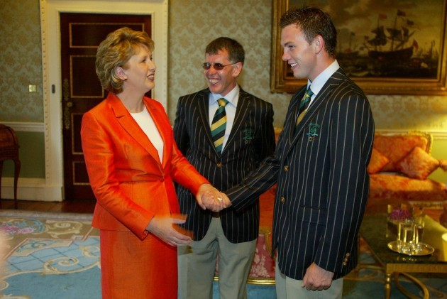 Mary McAleese and Willie O'Brien meet Andy Lee