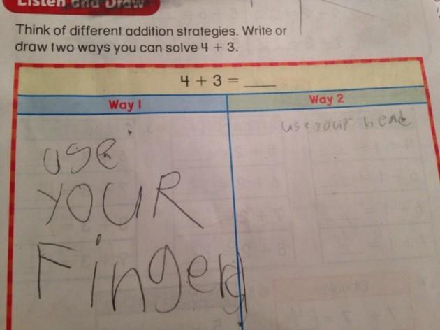 My kid's math homework