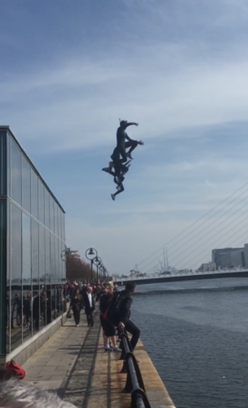 boys jumping into the liffey
