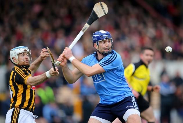 Jonjo Farrell attempts to hook Conal Keaney