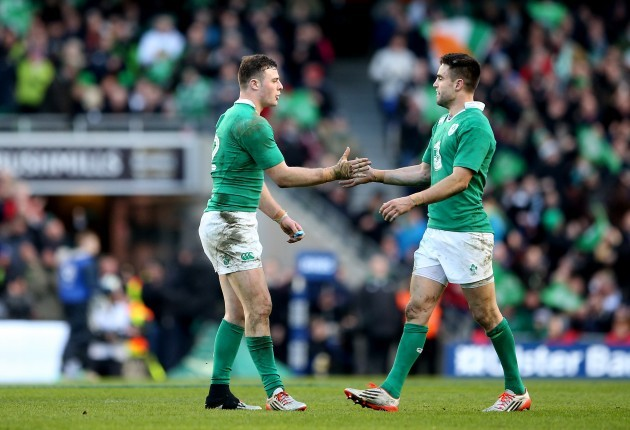 Robbie Henshaw celebrates with Conor Murray after his try was awarded following a TMO
