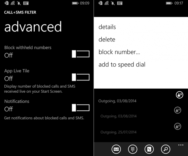 Windows Phone block call