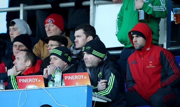 Ian Costello, Brian Walsh and Anthony Foley with Conor Murray