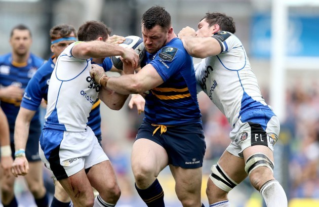 Cian Healy with Micky Young and Francois Louw