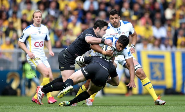 Wesley Fofana tackled by Brad Barritt and Marcelo Bosch
