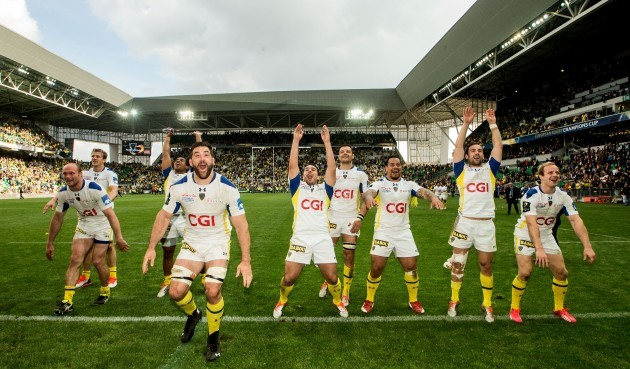 The Clermont team celebrate with fans