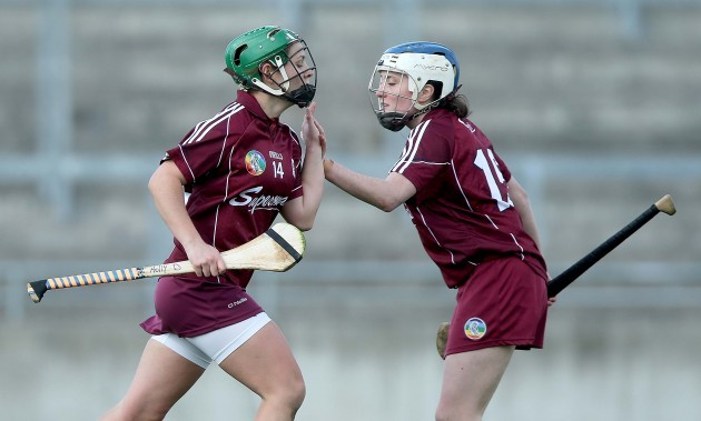 Molly Dunne celebrates scoring a goal with Ailish O'Reilly