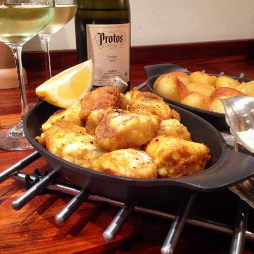 Fried Cajun Monkfish goujons & tartar sauce with beef fat roasted potatoes, late dinner last night. With a 2013 'Protos' Rueda Verdejo