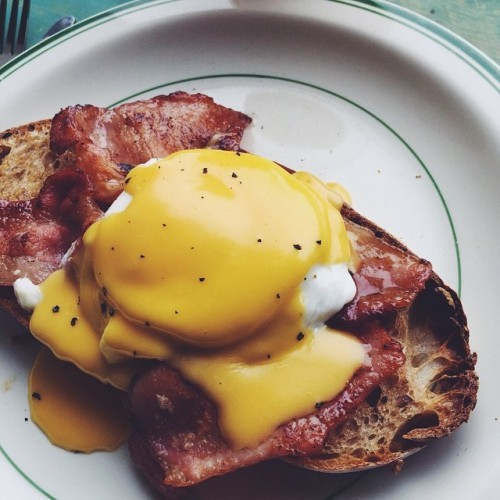 Brunch chez moi: eggs Benedict on homemade sourdough bread. Eggcellent start to the day!