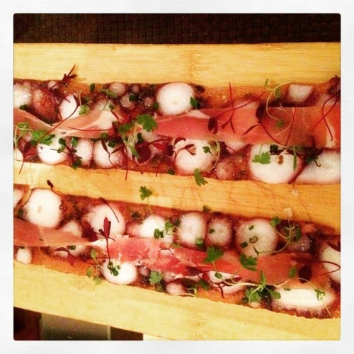 One of my fave tapas of the night! #octupuscarpaccio with #prosciutto