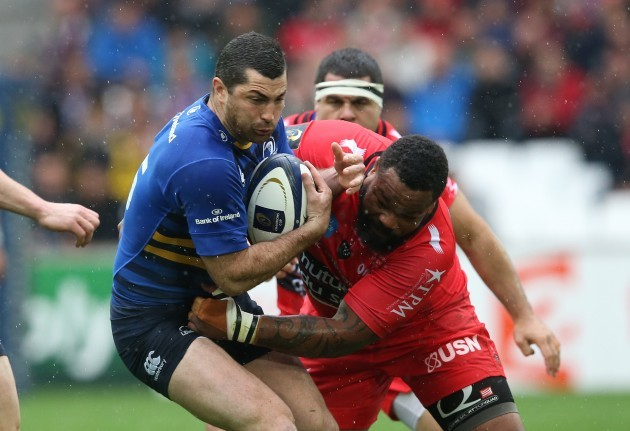 LeinsterÕs Rob Kearney and ToulonÕs  Mathieu Bastareaud
