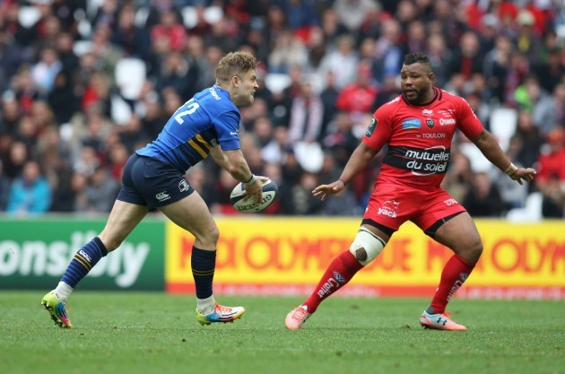 Ian Madigan tries a long pass which was intercepted for a try by Bryan Habana